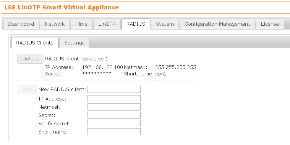 8  Configuring the RADIUS access to the LinOTP appliance